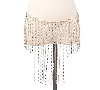 bbc5c6c435a Women Rhinestone Body Chain Jewelry Sexy Chain Skirt Bikini Chain Bra for  Nightclub Party Beach (Body Chain - Gold Skirt)