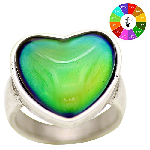 Mojo Antique Sterling Silver Plated Ring With Heart Shape Stone Color Change Mood Rings MJ-RS056 (8)
