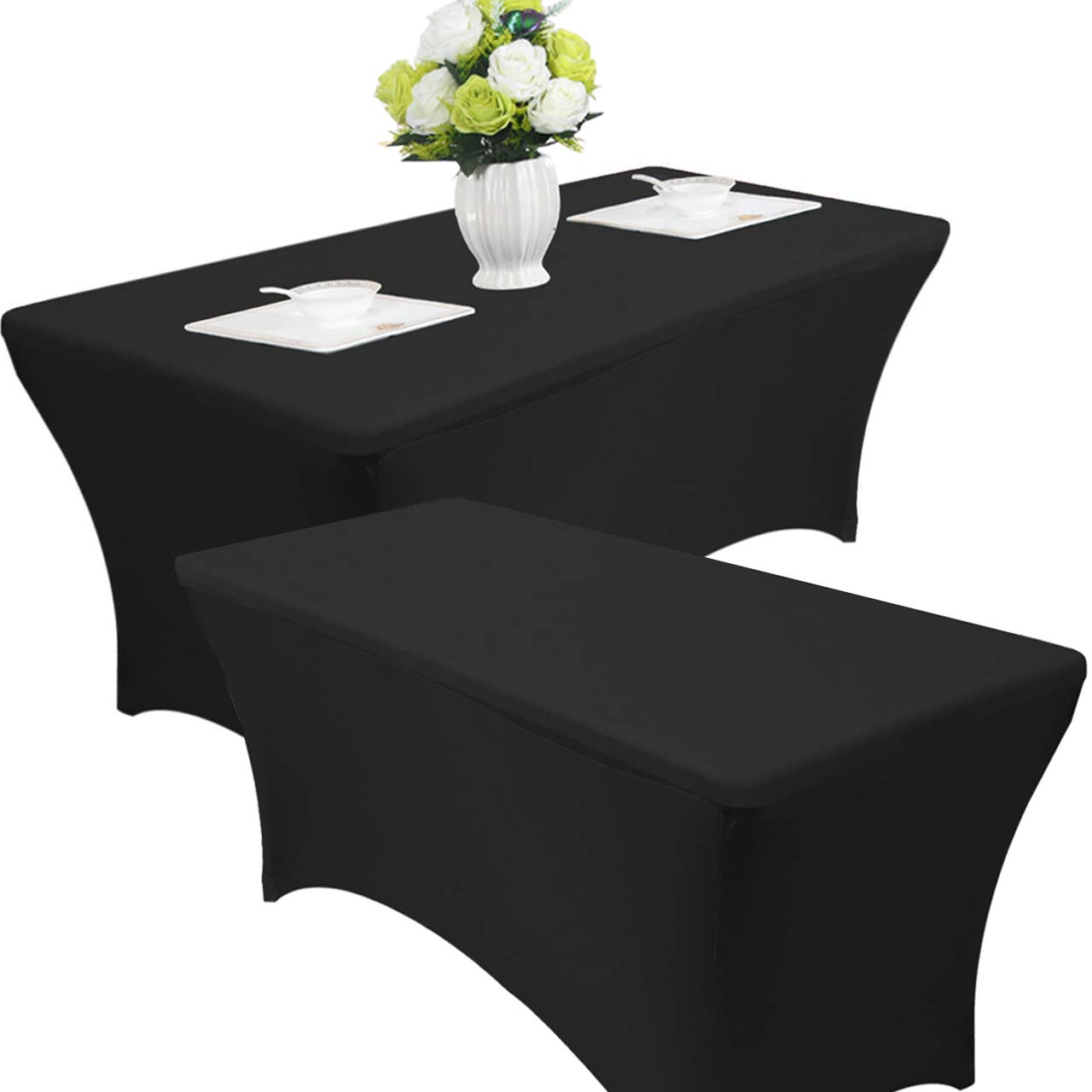 Reliancer 2 Pack 48FT Rectangular Spandex Table Cover Four-Way Tight Fitted Stretch Tablecloth Table Cloth for Outdoor Party DJ Tradeshows Banquet Vendors Weddings Celebrations (6FT, Black) by Reliancer (Image #1)