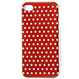 Pois blanc rouge en plastique dur IMD Retour Housse Etui pour iPhone 4 4G 4S