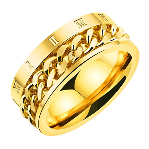 INRENG Men's Stainless Steel Chain Design Spinner Rings Roman Numerals Wedding Bands 8mm Gold Size 7 (Wedding Gold Bands Roman)