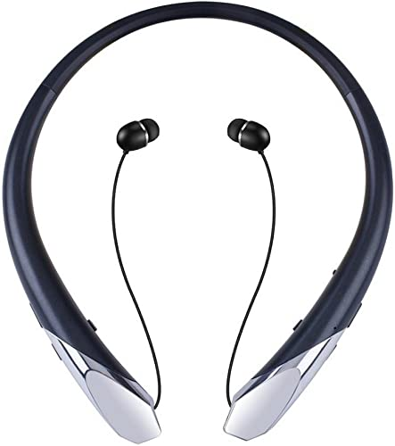 Bluetooth Headphones, Wireless Retractable Earbuds Neckband Headset Sports Noise Cancelling Stereo Earphones with Mic by CaYoumi 12 Hrs Playtime, Call Vibrate Alert, Black