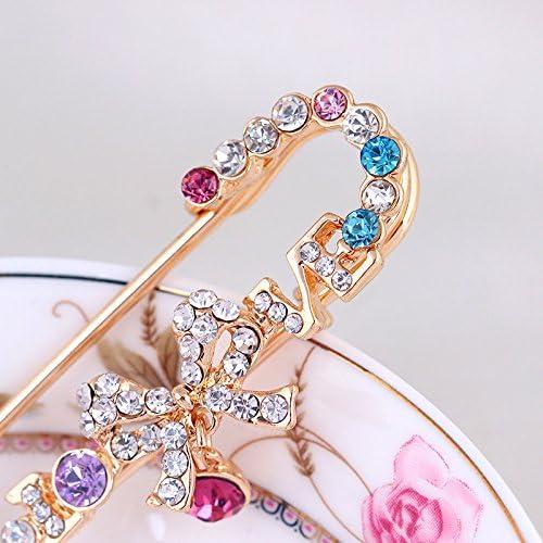 KENYG Fashion S/ü/ße Brosche Pin Schleife Strass Brosche Damen Hut Tasche Seide Schal Schnalle Brust Pocket Pins
