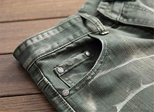 Jeans Grün Dritti 5 Pantaloni Da Classici Fit Denim Colori Giovane Casual Lavati Vintage Slim Uomo In ZqEE54WHn