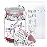 KindNotes Glass MOM Keepsake Gift Jar of Messages for Mothers Birthday, Just Because, Mother's Day - Birds and Flowers Enjoy Every Moment