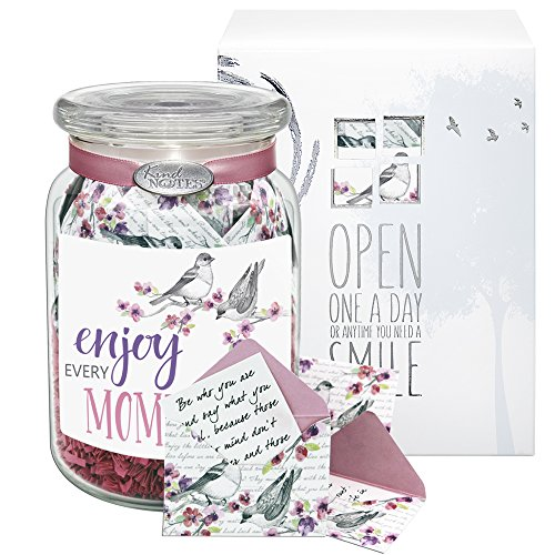 KindNotes Glass INSPIRATIONAL Keepsake Gift Jar of Messages for Him or Her Birthday, Thank you, Anniversary, Just Because - Birds and Flowers Enjoy Every Moment (Glass Keepsake)