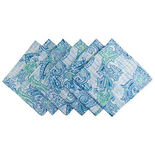 DII CAMZ10395 NP OUTDOOR BLUE PAISLEY S/6 Napkin Watercolor, 6 Piece