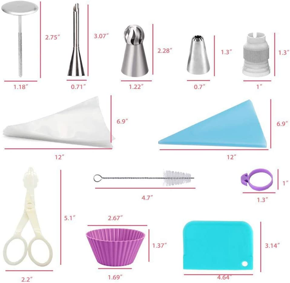 Russian Piping Tips Set 102piece Cake Cupcake Decorating Supplies Kit Icing Nozzles Flowers Shaped Frosting Bags and Tips Baking Supplies Cake Mould Cake Cup 102pcs
