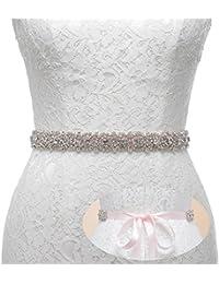 Handmade Dazzling Rhinestone Wedding Party Prom Sash Bridal Belt For Women, Pink