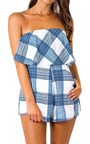 Artfish Women Off Shoulder Ruffle Strapless Printed Playsuits Rompers (L, Plaid)