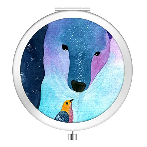 Bear Lighted Polar - Polar bear and Hummingbird Metal Pocket Mirror Silvery Round Folding Mirror Compact Makeup Mirror with Double-Sided Stylish Idea for Gift Women