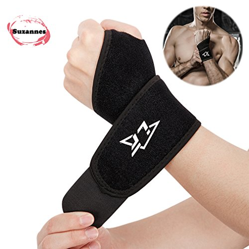 Wrist Fractures (Suzannes Sports Mueller Wrist Brace Support Neoprene Wraps for Men and Women Adjustable for Right and Left hand with Thumb Stabilizer for Yoga, Carpal Tunnel, Bowling, Weightlifting (Black))