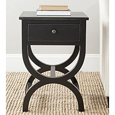 Safavieh American Homes Collection Maxine Black Accent Table - This night stand will add a fresh look to any room The black finish of this night stand will add the perfect accent to your home Crafted of pine wood - living-room-furniture, living-room, end-tables - 51HDwarwZwL. SS400  -