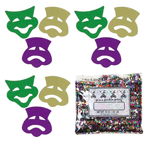 Confetti Mask: Comedy & Tragedy Mardi Gras Mix - One Pound Bag (16 oz) FREE SHIPPING --- (Buy Mardi Gras Beads In Bulk)