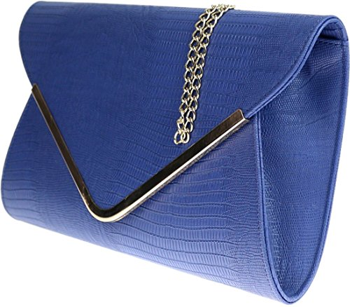Flat Royal Bag Print H Black Clutch Croc Animal Ladies amp;G Blue Envelope Evening wznPngX