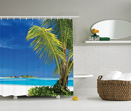 - Ambesonne Ocean Seascape Shower Curtain Decor by, Caribbean Polynesia and Tropics Small Palm Trees Photo Print, Polyester Fabric Bathroom Set with Hooks, 69W X 70L, White Green