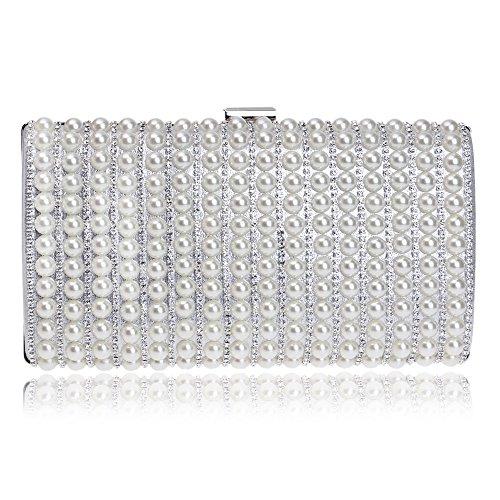 GROSSARTIG Bag Dinner Silver Bag Fashion Bag Bridal Crossbody Pearl Evening Gown rcpr1fU