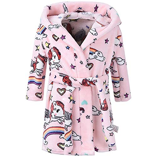 Boys Girls Bathrobes, Toddler Kids Hooded Robes Plush Soft Coral Fleece Pajamas Sleepwear for Girls Boys (Cartoon Pink, US 7-8T/Height 55.1