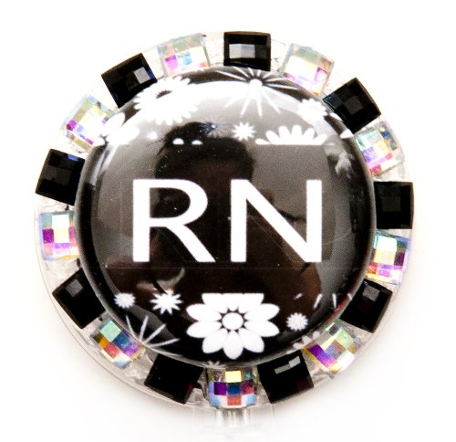 (STRIPED FLOWER RN BLING BADGE REEL, RHINESTONE BADGE REEL, RHINESTONE RETRACTABLE BADGE REEL, BLING ID BADGE HOLDER FOR NURSES, GIFT, GRADUATION, BIRTHDAY, OR CHRISTMAS. (BLACK STRIPE FLOWER REEL))