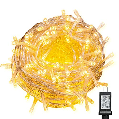 - WISD String Lights 100 LED Warm White Plug in Fairy Lights on Clear Wire with 8 Effects and Memory Function, String Lights Decor for Wedding, Bedroom, Christmas, Party, Indoor Outdoor Home Decoration