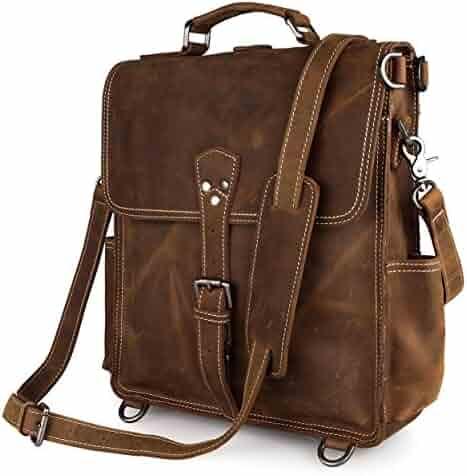 fb38e7663e Everdoss Mens Genuine Leather Retro Shoulder Messenger Bag College School  Backpack Rucksack Casual Daypack Crossbody Pack