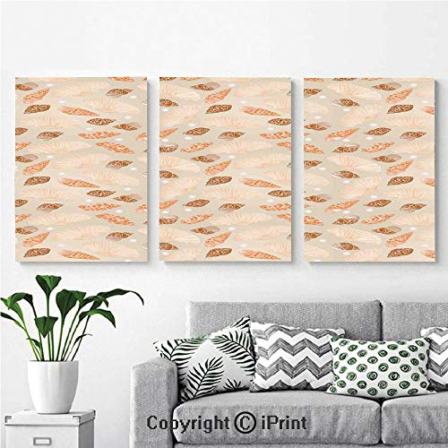 Modern Salon Theme Mural Pattern with Pearls Seashells an Oysters Natural Marine Life Style Decor Beach Theme Painting Canvas Wall Art for Home Decor 24x36inches 3pcs/Set, Tan - 36 Inch White Oyster Post