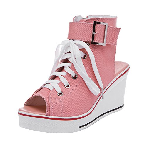 OCHENTA Women's Peep Toe Canvas Wedge Heeled Platform Fashion Sneaker Pump Shoes #4 Pink Label 40 - US (04 Canvas)