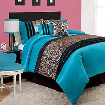 Amazon Com 5 Piece Girls Aqua Zebra Themed Comforter Twin