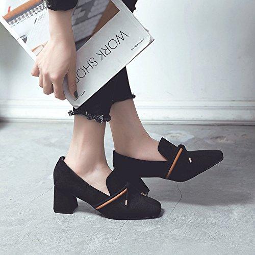 femeninos D zapatos Profundidad femeninos bold de tacones mujer singles Correa Matt singles color zapatos caramelo de 37 Negro de zapatos con tqrr0E