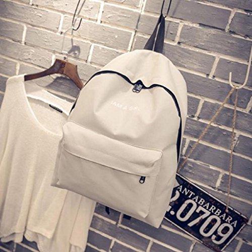 Bolsos Para mujer, RETUROM Bolso de lona de la muchacha mochila bandolera para viajes escolares blanco