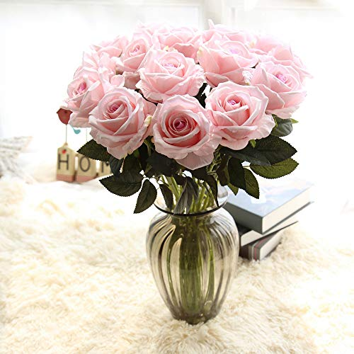 - Euone  Artificial Floral, Artificial Flower Fake Roses Flannel Floral Bridal Bouquet Wedding Party Home Decor (Pink)