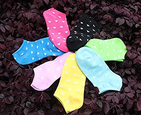 Amazon.com: Culturemart 5 Pairs Womens Girls Cute Heart Ankle High Low Cut Cotton Socks Casual Calcetines Mujer Candy Socks 3 Patterns: Kitchen & Dining