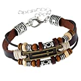 Search : ACVIP Retro Mixed 3 Wrap Leather Cross Wristbands and Wood Bead Bracelet for Men