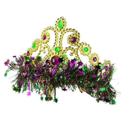 [Mardi Gras Crown Headband - Green Yellow Purple OSFM] (Hat Mardi Gras Costumes Accessories)
