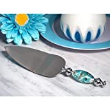 Stunning Murano Art Silver and Teal Cake Server - 96 Pieces