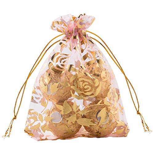 VIVOHOME Pink Rose Flower Drawstring Organza Gift Bags 3.5 x 4.8 Inch Pack of 100