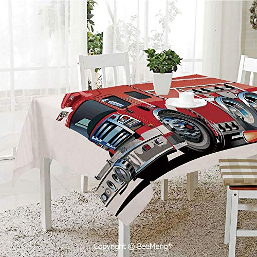 BeeMeng Spring and Easter Dinner Tablecloth,Big Fire Truck with Emergency Equipments Universal Safety Rescue Team Engine Cartoon,Red Silver59 x 83 ()