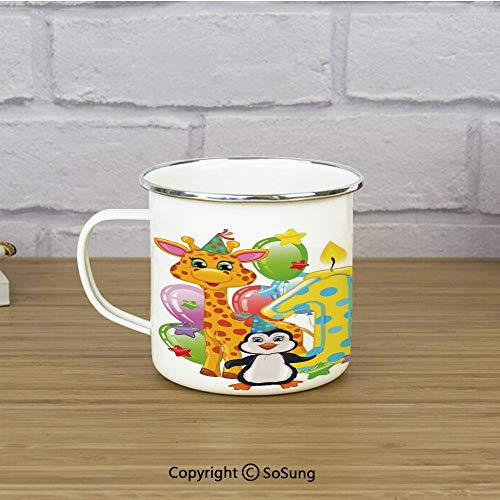 1st Birthday Decorations Travel Enamel Mug,Kids Party with Baby Safari Animals Zebra Lion Balloons Backdrop,11 oz Practical Cup for Kitchen, Campfire, Home, TravelMulticolor ()