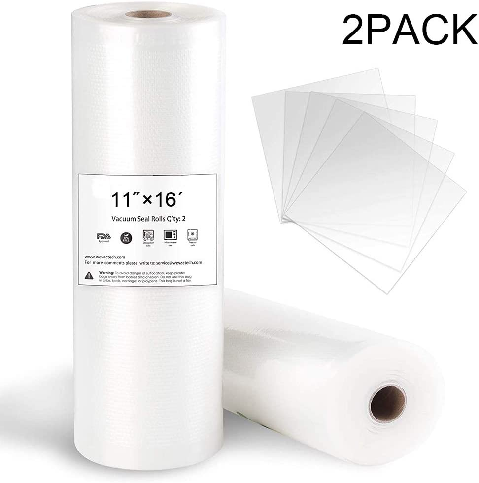 """Wekin 2 Pack of Vacuum Sealer Bags Roll 11"""" x 16' For Food Saver,Seal a Meal,Commercial Grade Bag- Thicker - Puncture Prevention- BPA Free,Great for vac storage, Meal Prep or Sous Vide"""