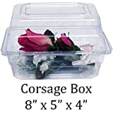 "Boutonniere Flower Box Clear Prom Wedding Corsage Craft Container w/ Crafting eBook (8"" x 5"" x 4"", 10 Count)"