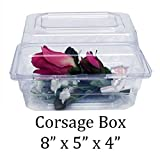 Boutonniere Flower Box Clear Prom Wedding Corsage Craft Container w/ Crafting eBook (8'' x 5'' x 4'', 10 Count)