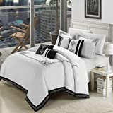Chic Home 7-Piece Embroidered Comforter Set, King, White/Black