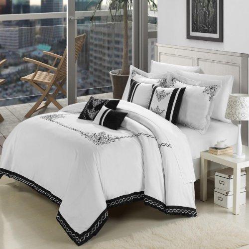 Athens Comforter Set - Chic Home 7-Piece Embroidered Comforter Set, King, White/Black