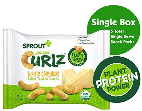 Sprout Organic Curlz Toddler Snacks, White Cheddar, 0.25 Ounce Single Serve Packets (Box of 5)