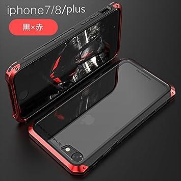 43c64a6e05 MQman iPhone 7 iPhone8 ケース 透明ガラス アルミ合金フレーム iPhone7plus iPhone8plus ケース  メタルバンパー ガラス