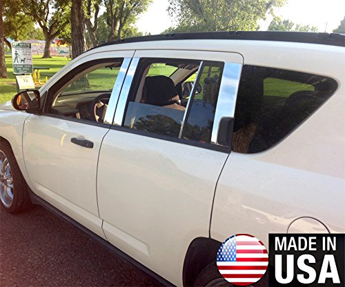Made In USA! Works With 2007-2017 Jeep Compass 8PC Stainless Steel Chrome Pillar Post Trim MaxMate