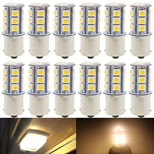 AMAZENAR 12-Pack Warm White 3000k 1156 BA15S 7506 1141 1003 1073 LED Light 12V-DC 5050 18SMD Car Replacement for RV Camper Interior Lighting Marine Cabin Boats Lighting Trailer Tail Backup Light