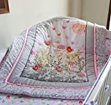NAUGHTYBOSS Baby Bedding Set Cotton 3D Embroidery Bird Butterfly Branch Leaf Wild Flower Pattern Quilt Bumper Bed Skirt Mattress Cover 7 Pieces Set Pink
