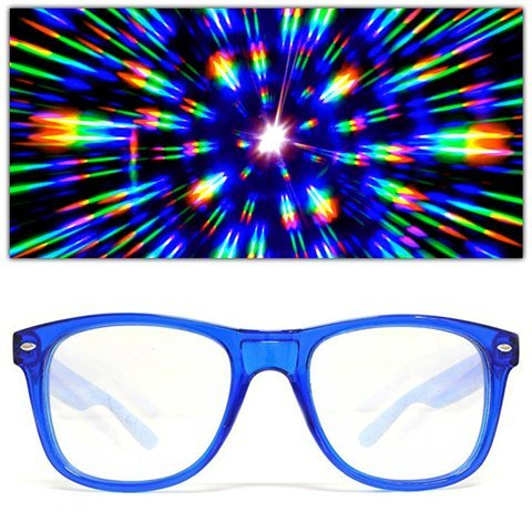 GloFX Ultimate Diffraction Glasses - Transparent Blue - 3D Prism Firework Grating