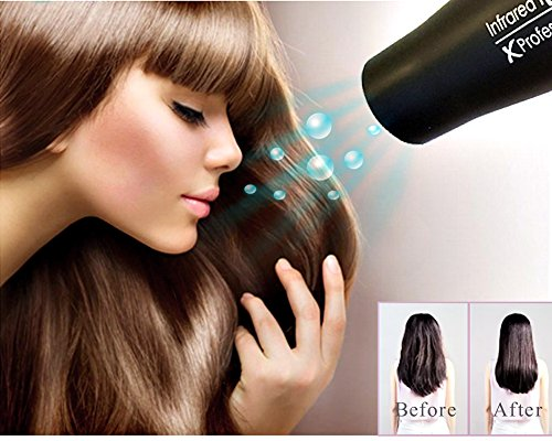 1875W Professional Salon Hair Dryer,Negative Ionic Blow Dryer,AC Motor Infrared Low Noise Hair Blow Dryer with Diffuser & Concentrator & Comb,Black by Xlinder (Image #8)